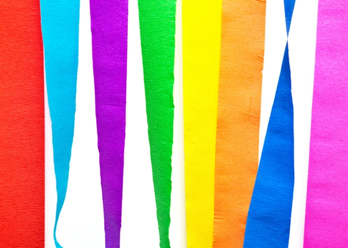 Crepe paper hanging in multiple colors