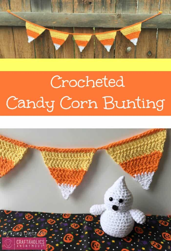 crocheted candy corn buntin