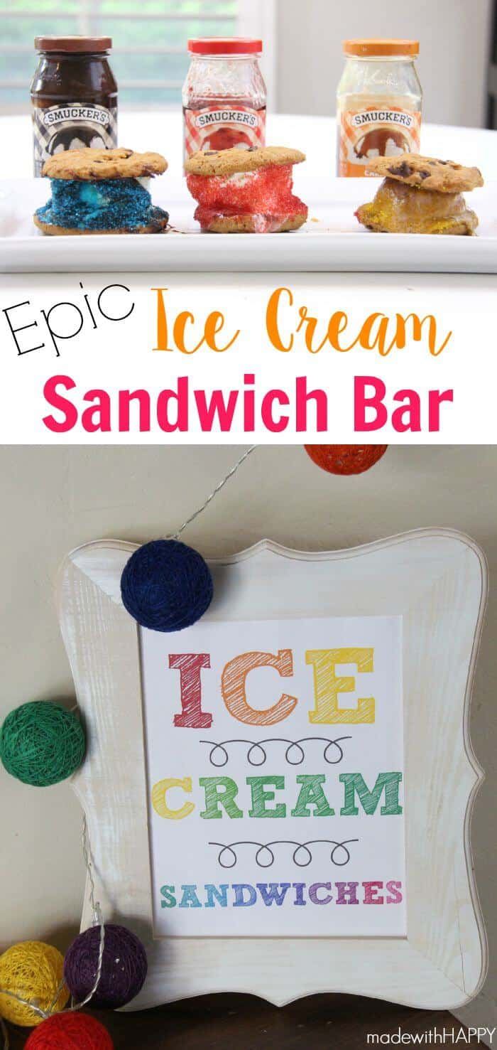 Ice Cream Sandwich Bar | Summer Parties | www.madewithHAPPY.com #SundaeFundae AD