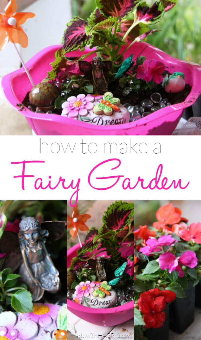 How to make a Fairy Garden | Fairy Garden Tutorial | Dollar Store Fairy Garden | Summer Activities for Kids | Spring Gardening with Kids | www.madewithHAPPY.com