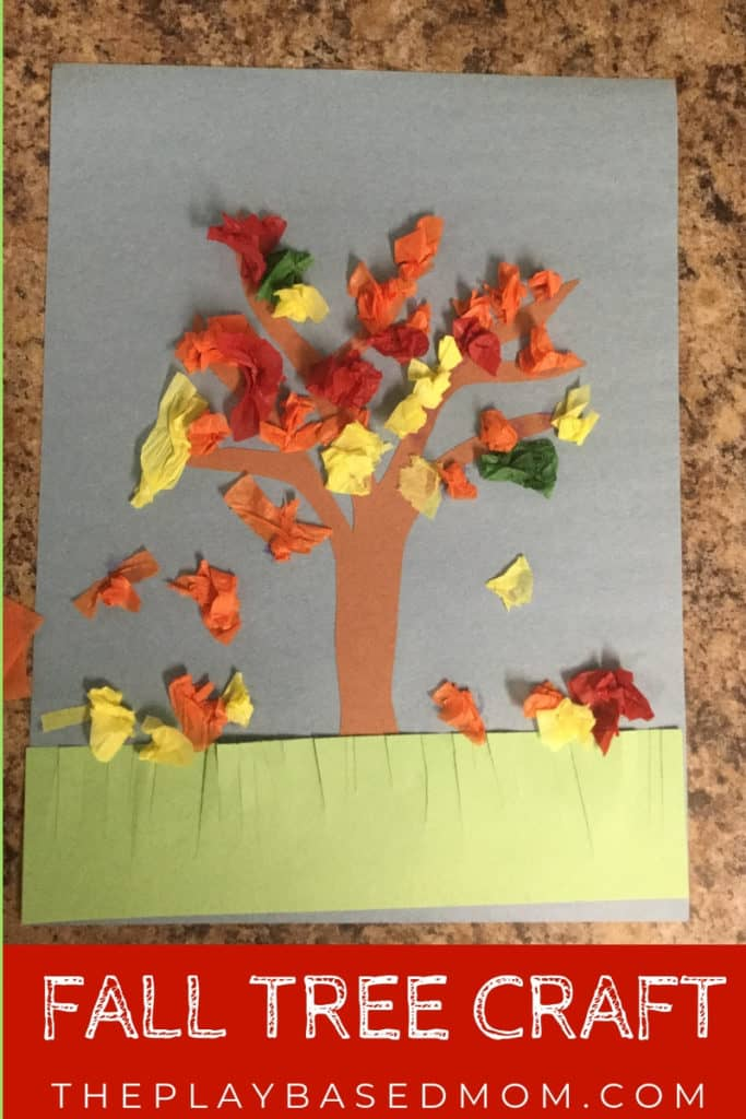 fall tree craft with tissue paper