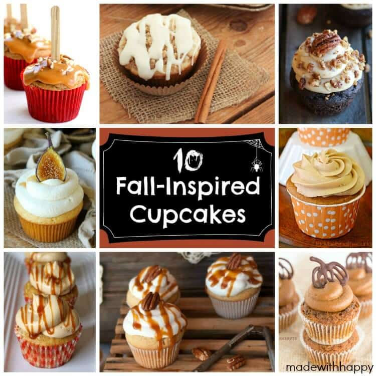Fall Inspired Cupcakes | Apple Cupcakes, Pumpkin Cupcakes and more | www.madewithHAPPY.com