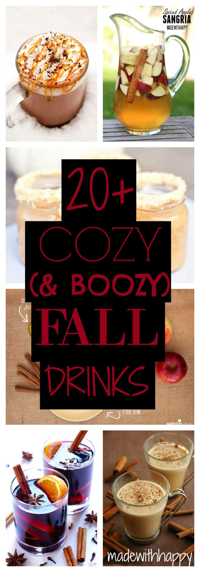 20+ Fall Cocktail Recipes | Holiday Entertaining with Fall Recipes | Pumpkin, apple and cinnamon cocktails | www.madewithHAPPY.com