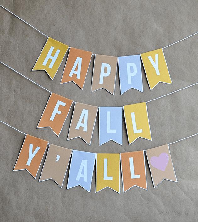 Happy Fall Banner - Thirty Handmade Days| 15 DIY Fall Crafts | www.madewithHAPPY.com