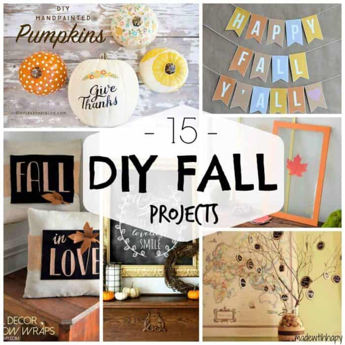 Fall is HERE!! Fall recipes, crafts, DIYs, scents, fashion--basically everything fall--is my favorite!!! I've scoured the Internet once again to bring you the best in Fall DIY home decor. From pumpkins, to Halloween, to frames and banners, here are my top 15 favorite DIY home decor projects: 15 DIY Fall Decor Projects 1. Painted Wood Slice…