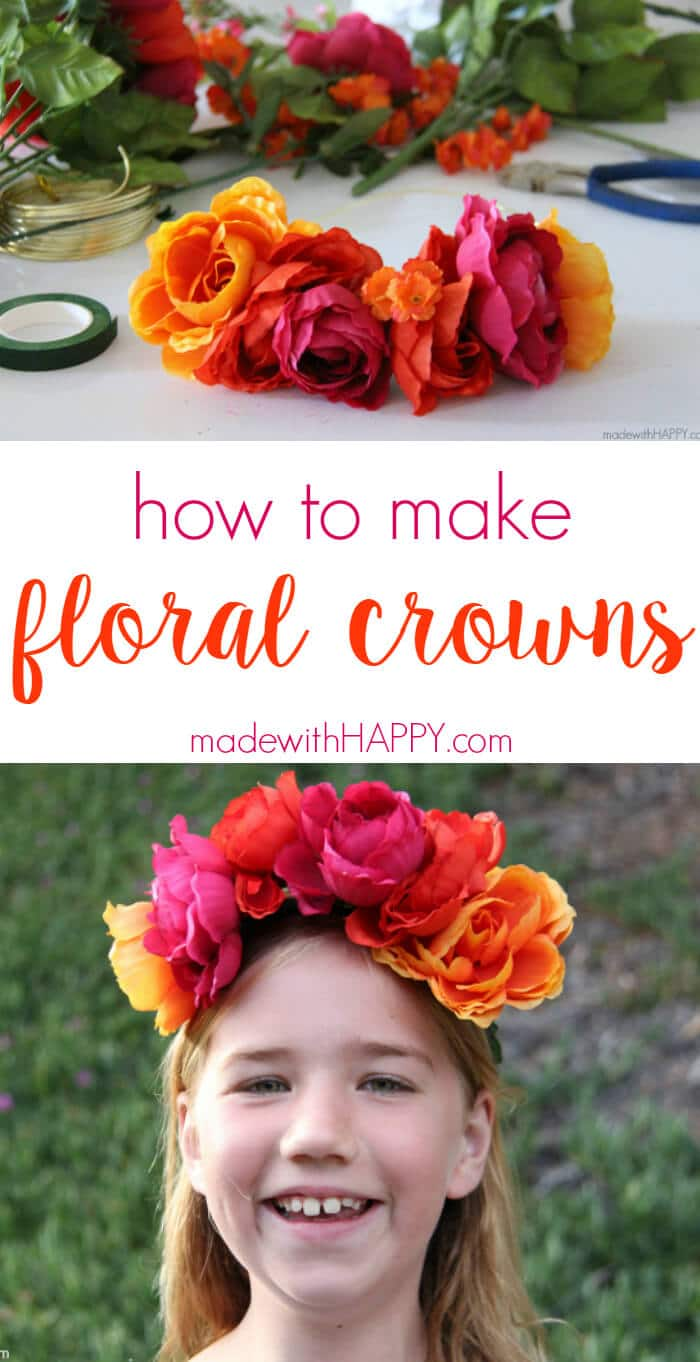 how to make floral crowns | Simple Flower Crowns | Silk Flower Headbands | Flower Crowns for Bridesmaids | Floral Crowns Boho Chic | www.madewithhappy.com