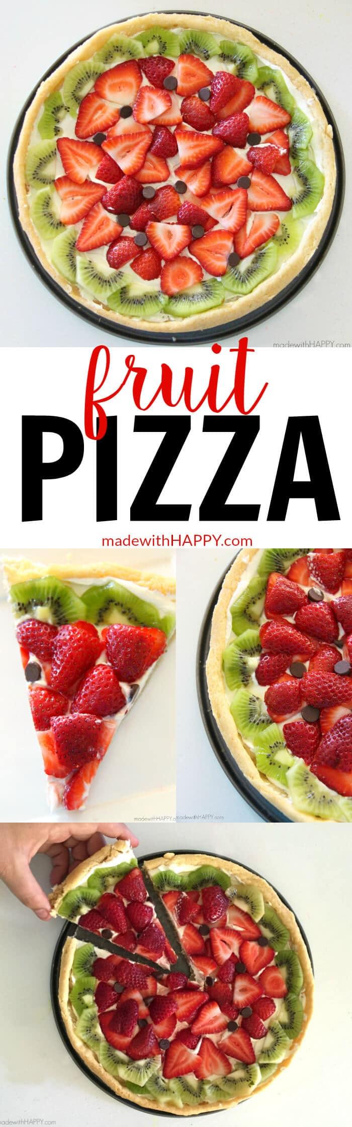 Fruit Pizzas | Watermelon Shaped Desserts | Summer Desserts | Cookie Pizzas | Watermelon Dessert | www.madewithhappy.com