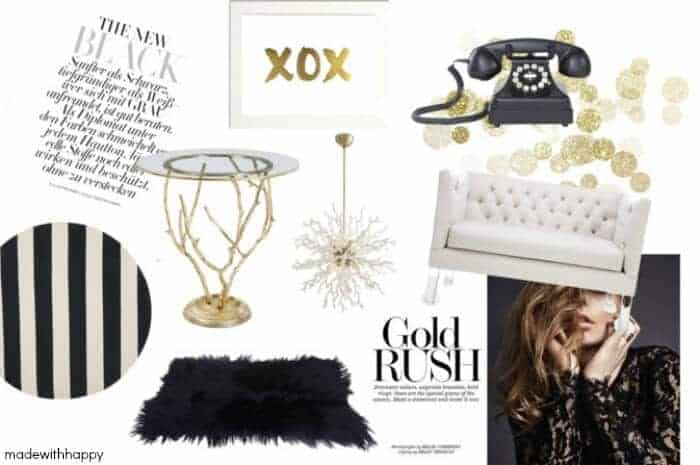 Gold Room Inspirations | Decorating a room with gold | www.madewithhappy.com
