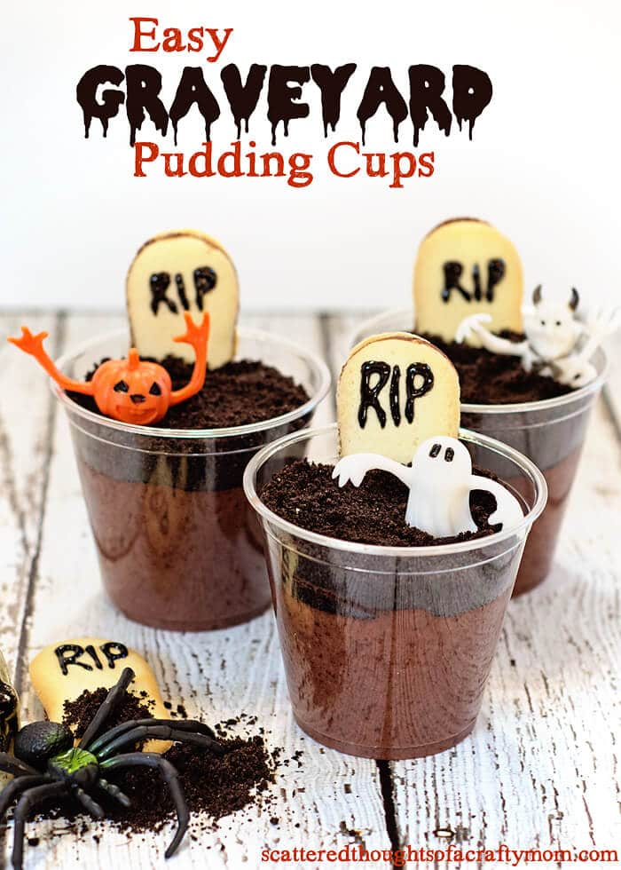Graveyard Pudding | 5 Super Fun Fall Foods | Halloween Themed Foods, Fall Flavored Foods | The Handmade Hangout | www.madewithHAPPY.com