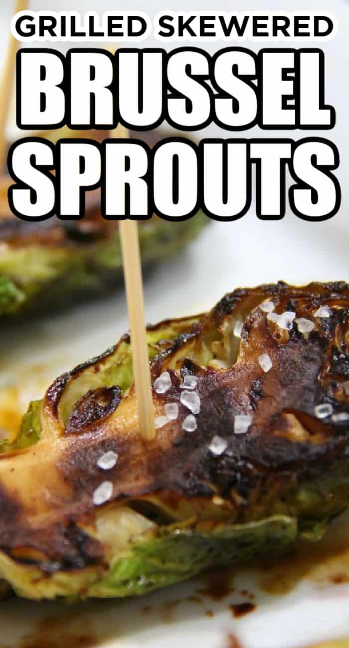 grilled skewered brussel sprouts