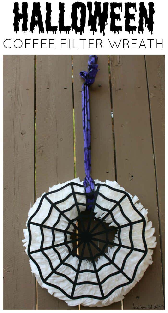 Halloween Coffee Filter Wreath | Halloween Wreath | Versatile Fall Wreath  | www.madewithHAPPY.com