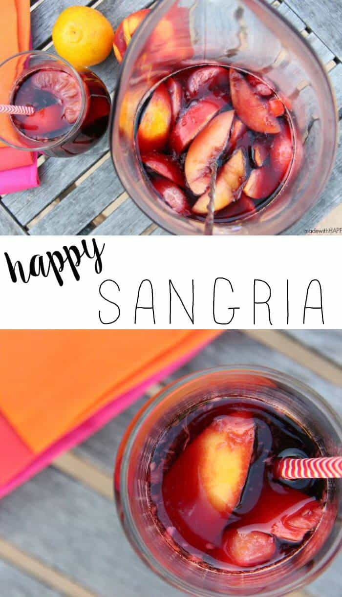 Happy Sangria | Red WIne Sangria Recipe with Nectarines | www.madewithHAPPY.com