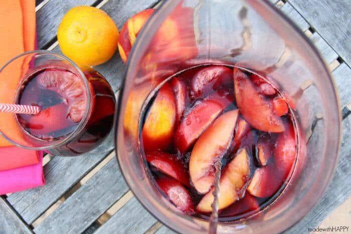 Happy Sangria | Red WIne Sangria Recipe with Nectarines | www.madewithHAPPY.com