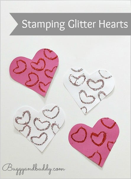 Stamping Glitter Hearts