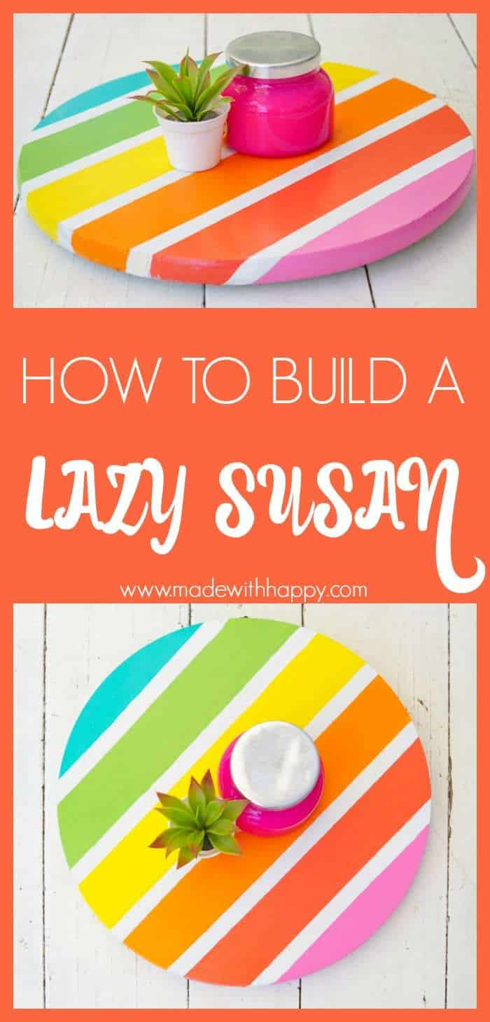How to Make a Lazy Susan. DIY Home Decor with Rainbow Colors. Paint projects for the home. Rainbow accents around the house. DIY Home Decor with this lazy susan