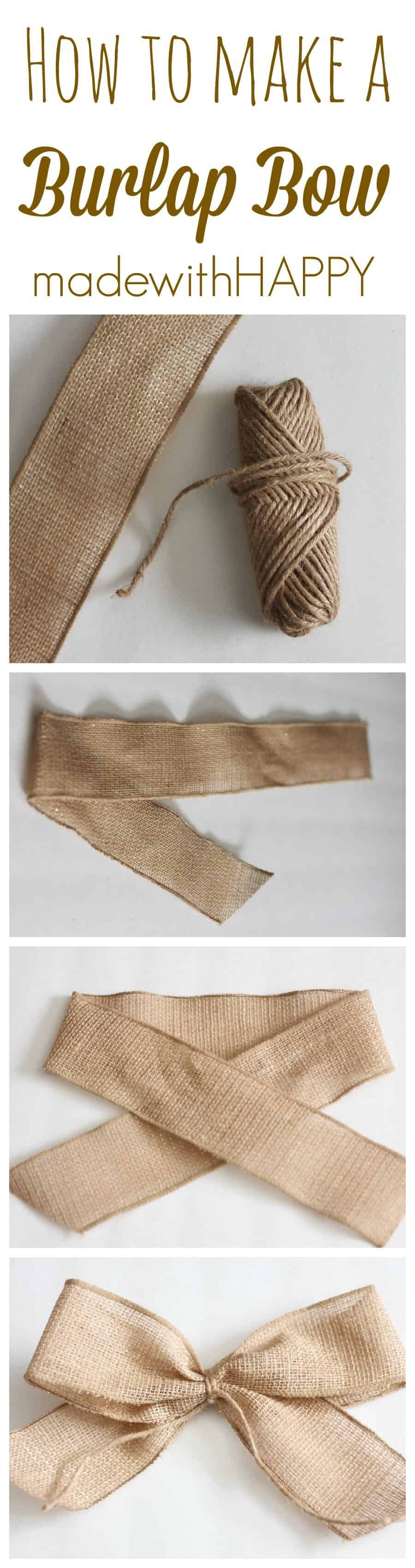 How to make a burlap bow. How to tie a bow with burlap. Simple burlap ribbon to create a burlap bow