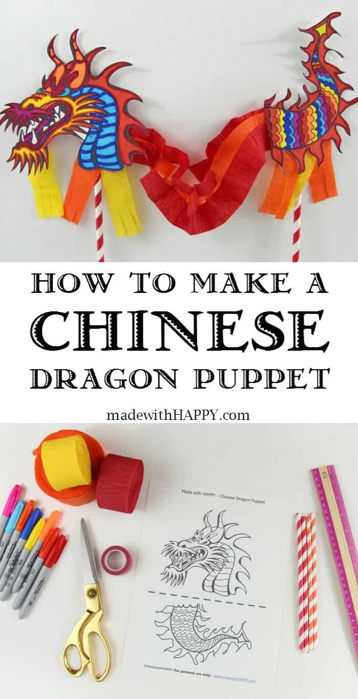Chinese Dragon Puppet | Preschool Crafts | Chinese Kids Crafts | Dragon Puppet | www.madewithHAPPY.com
