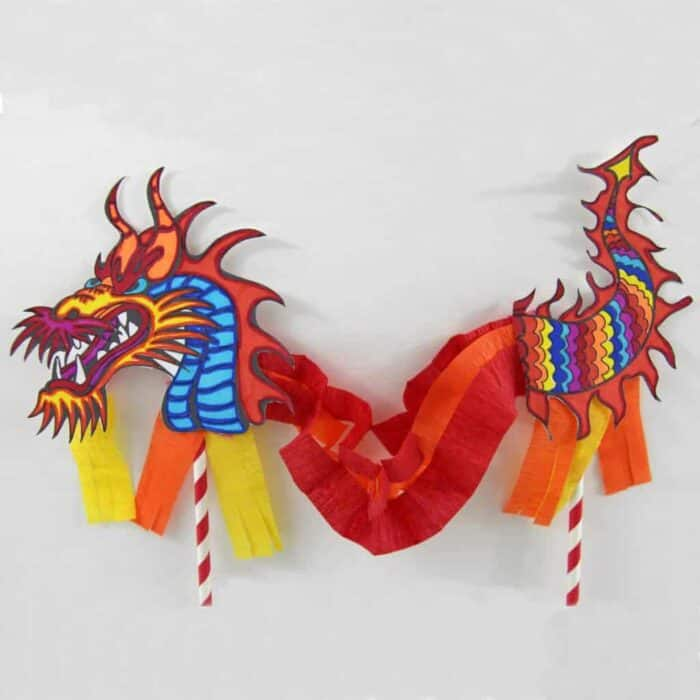 Chinese Dragon Puppet.  Chinese New Year Celebration.  Chinese New Year Kids Crafts.  Chinese Celebration Kids Craftss.