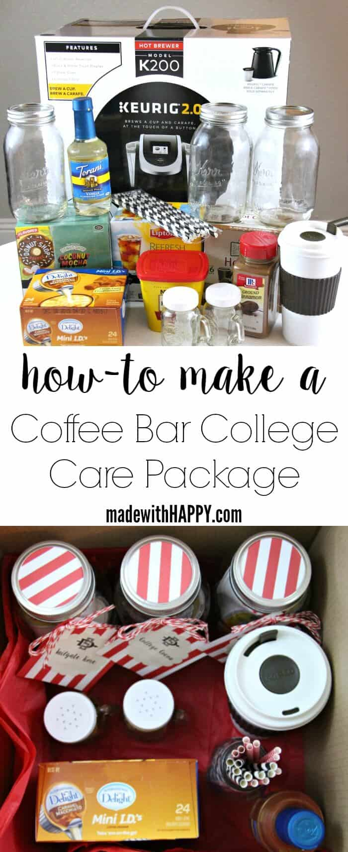 Coffee Care Package   How to build a coffee bar   College Dorm Setup   College Care Package Gift Ideas   www.madewithHAPPY.com