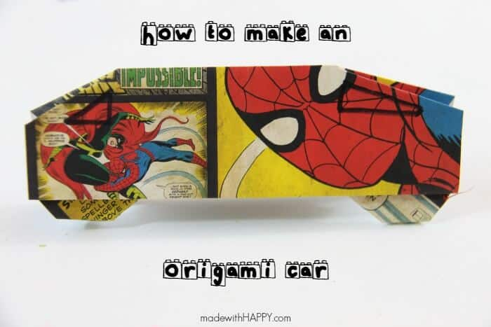 How to make an origami car | fun with paper | kids crafts | Cars fun with kids | www.madewithHAPPY.com