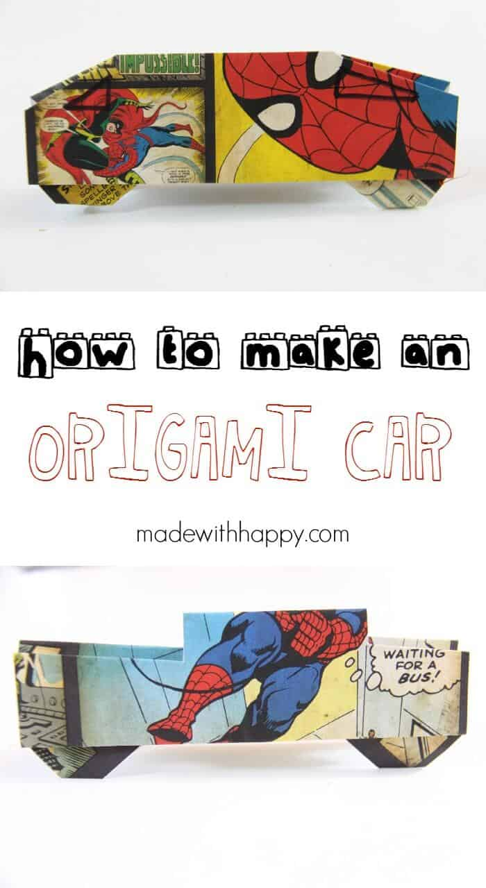 origami car made with happy