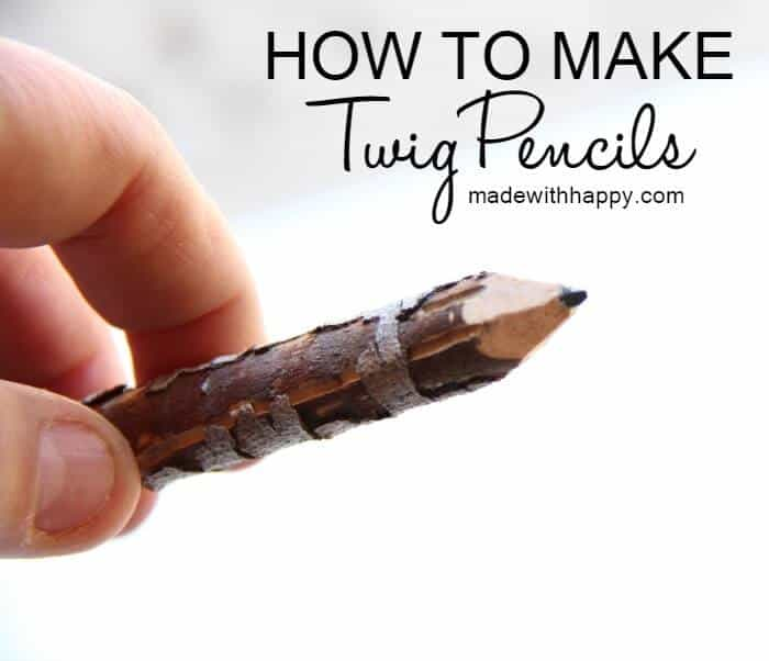 Make your own gifts for back to school. How to make twig pencils | Making pencils out of branches and twigs | DIY Pencils | www.madewithhAPPY.com