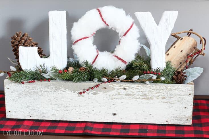 Christmas Joy Sign Planter Box