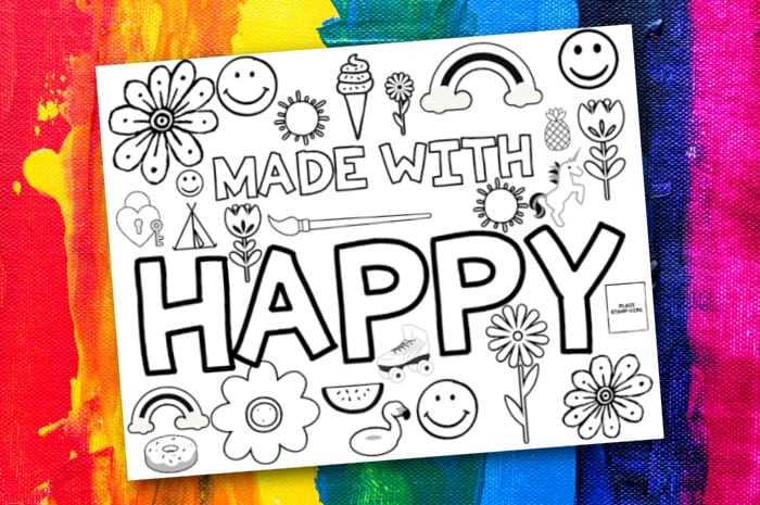 Made with Happy Coloring Page