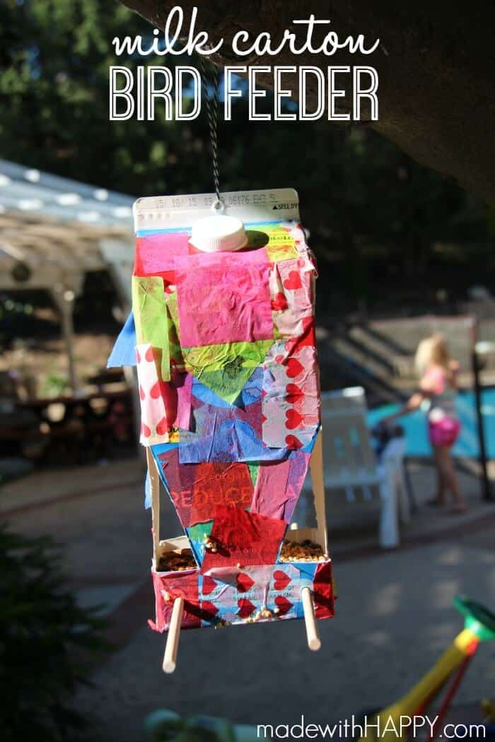 Milk Carton Bird Feeder | Kids Crafts Bird Feeder | Kids Outdoor Crafts | www.madewithHAPPY.com