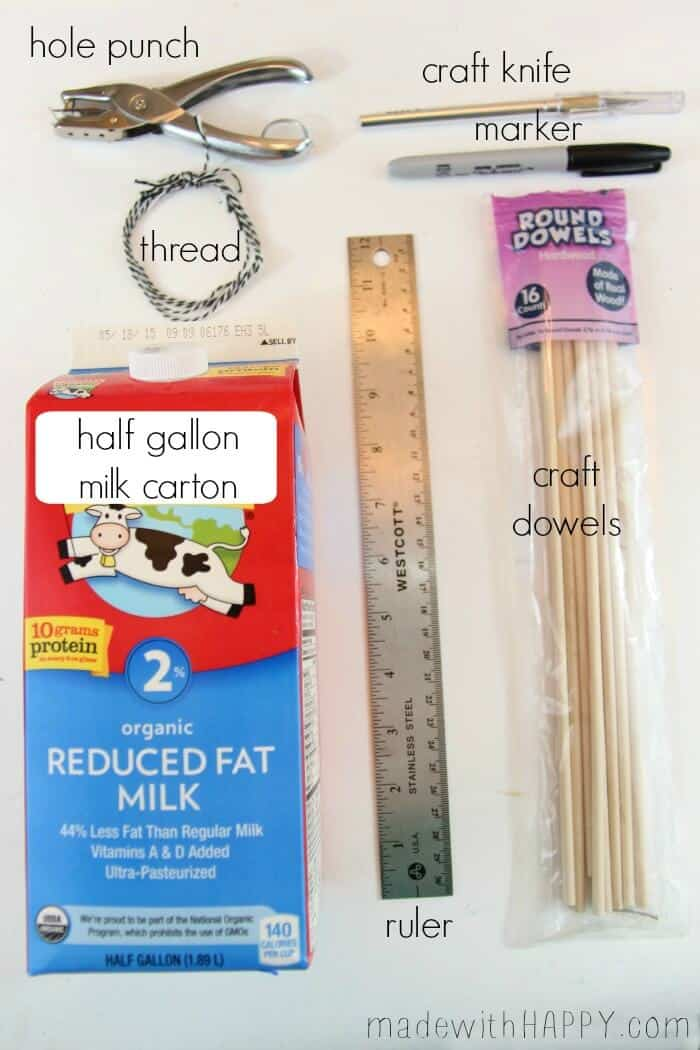 Milk Carton Bird Feeder | Kids Crafts Bird Feeder | Kids Outdoor Crafts | www.madewithHAPPY.com