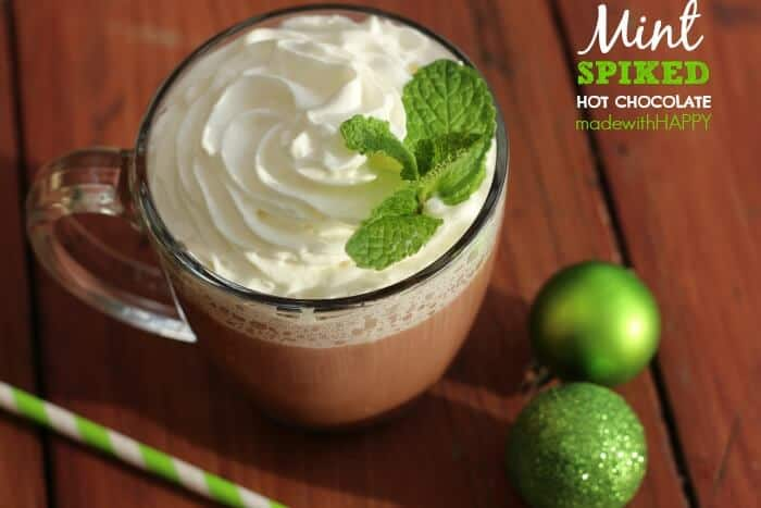 Spiked Hot Chocolate. Mint Hot Chocolate Ideas. Christmas Cocktails. Holiday Drink Ideas. Adult Hot Chocolate. Spiked Mint Hot Chocolate.
