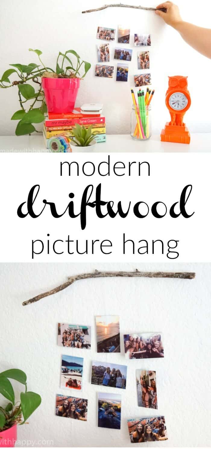 This modern picture display is a fun and simple to create.  Driftwood Picture Hang is a great way to bring natural elements to showing off your pictures.  www.madewithhappy.com