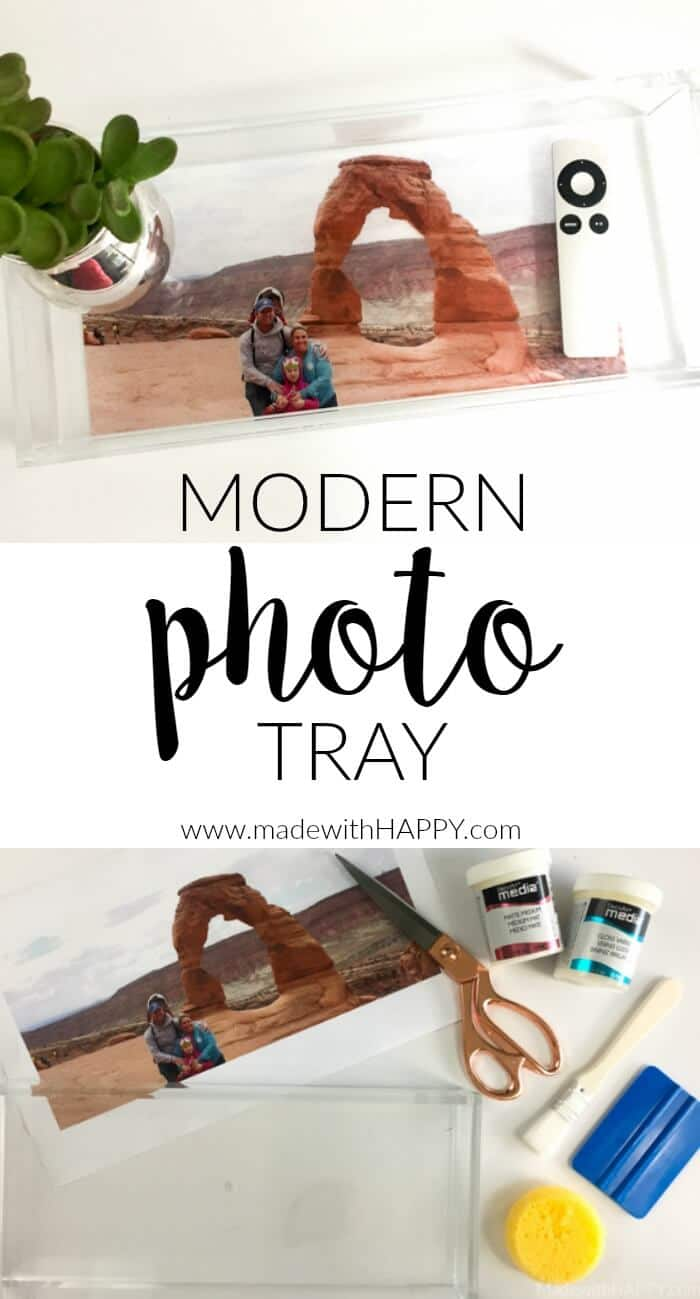 Modern DIY Photo Tray | Personalized Photo Gifts | Modern Acrylic Tray | Photoshop Elements | www.madewithhappy.com