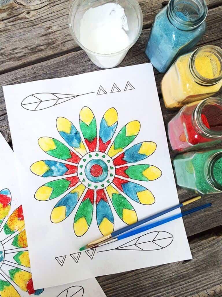 Kids Crafts From Around the World-Week 5-native-american-kid-craft-sand-art-jen-goode-768x1024