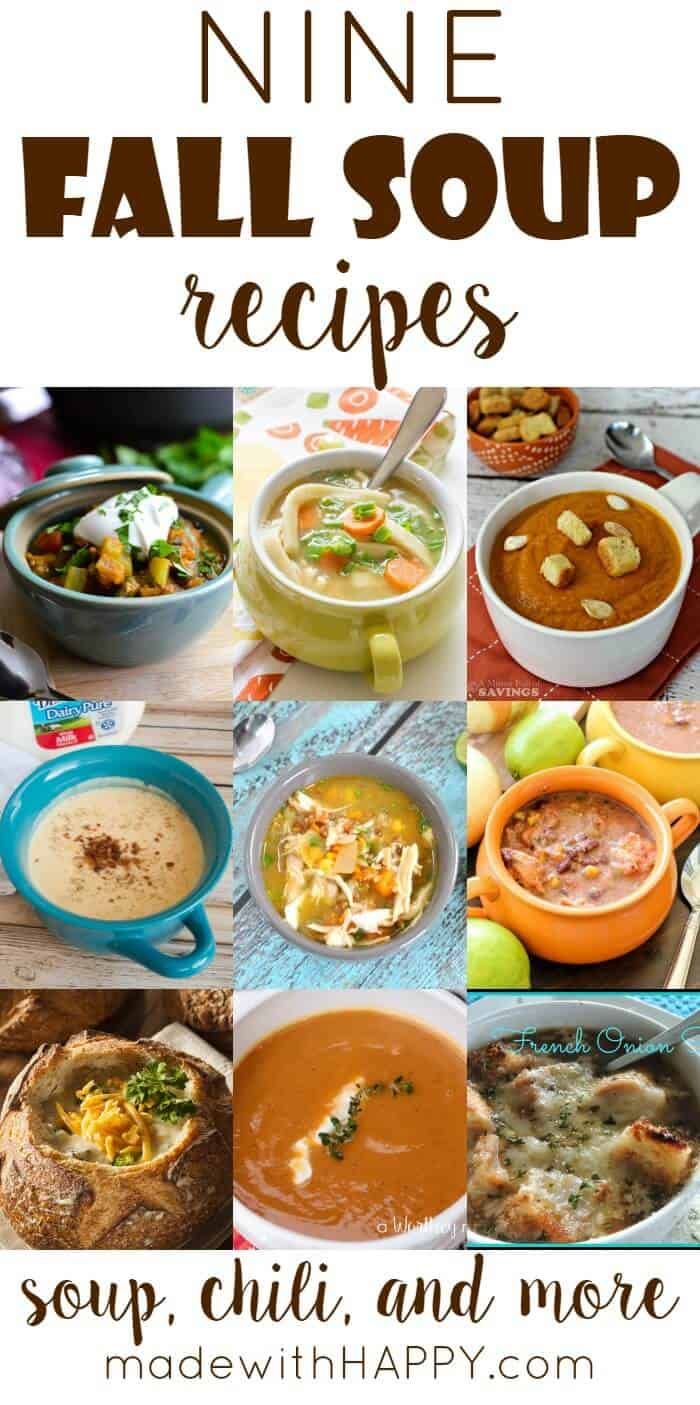 9 Fall Soup Recipes | Crockpot soups, chili recipes and more. The Handmade Hangout Link Party Features | www.madewithHAPPY.com