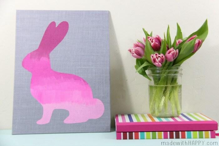 Ombre Burlap Bunny | Easter Bunny Decorations | Pink Bunny Stencil | DIY Easter Decor | www.maOmbre Burlap Bunny | Easter Bunny Decorations | Pink Bunny Stencil | DIY Easter Decor | www.madewithHAPPY.comdewithHAPPY.com