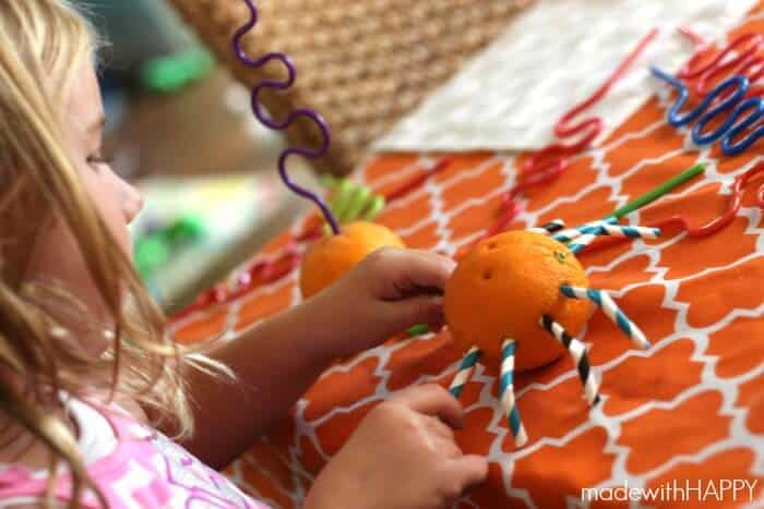 orange-spider-making