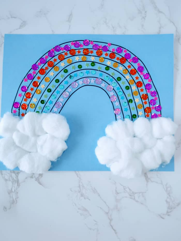 rainbow craft with cotton ball clouds