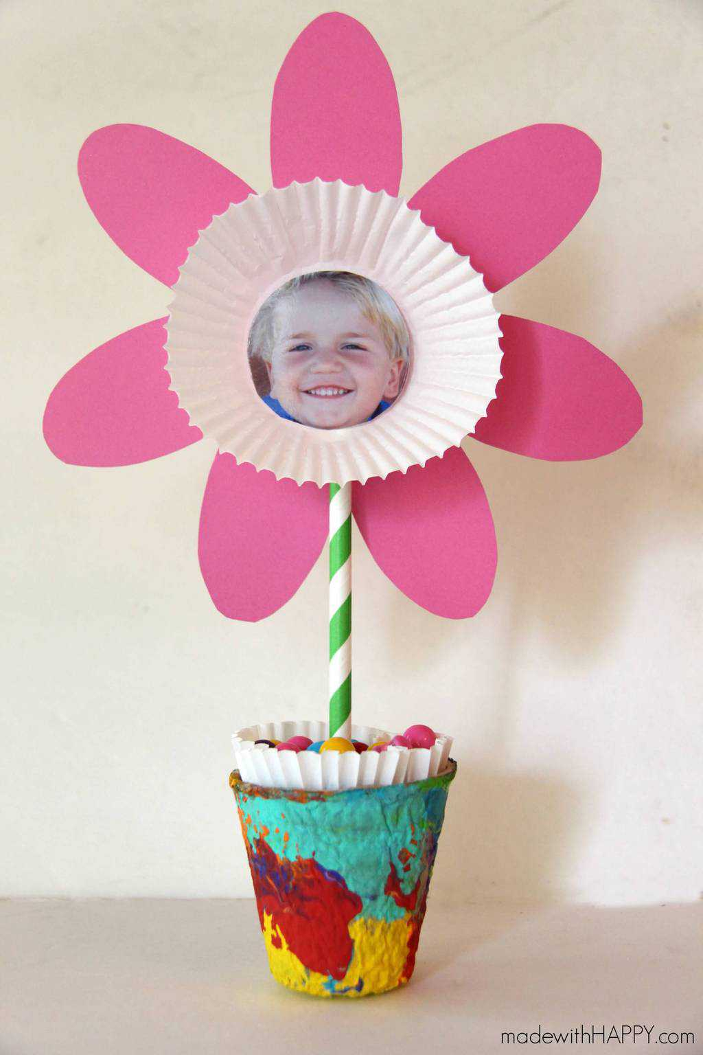 Picture Flower Kids Craft Free Printable Flower Made With Happy