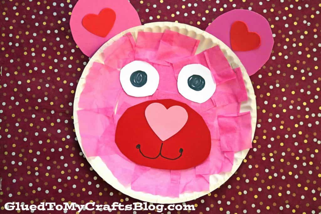 Paper Plate Valentines Bear Kid Craft