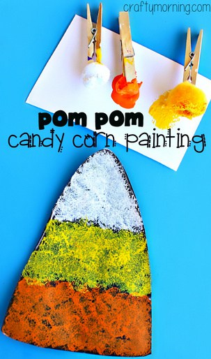 pom pom painting candy corn