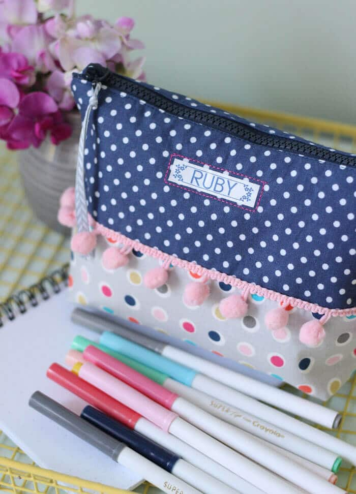Pom Pom Pencil Case | Fynes Designs | www.madewithHAPPY.com