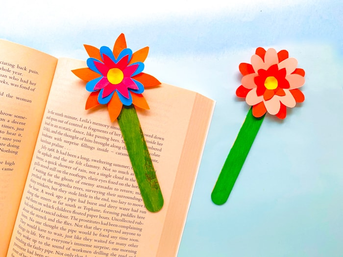 craft stick flower bookmark