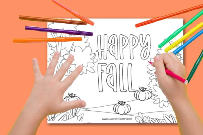 Happy Fall Coloring Picture