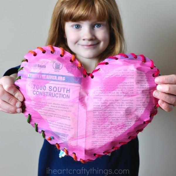 Puffy Newspaper Heart Craft