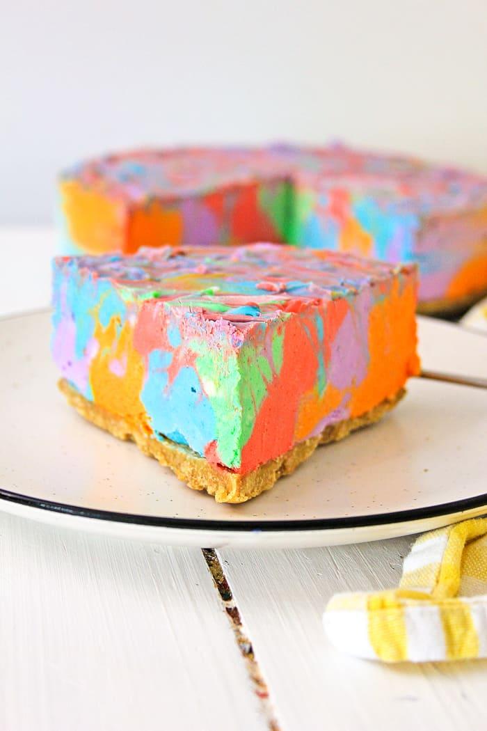 bright colored cheesecake