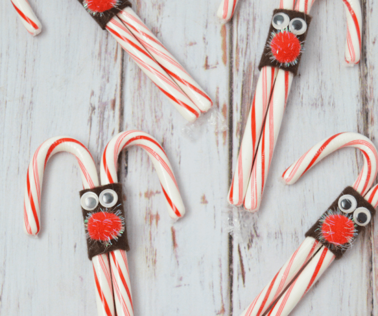 Easy Reindeer Candy Canes