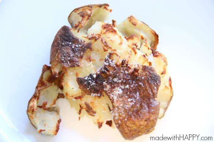 Roasted Smashed Potatoes   Smash Potatoes   Potato Dish   www.madewithHAPPY.com