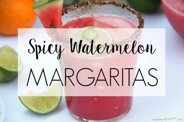 Spicy Watermelon Margarita   Watermelon Cocktail   Spicy Cocktails   Watermelon Margaritas   www.madewithhappy.com