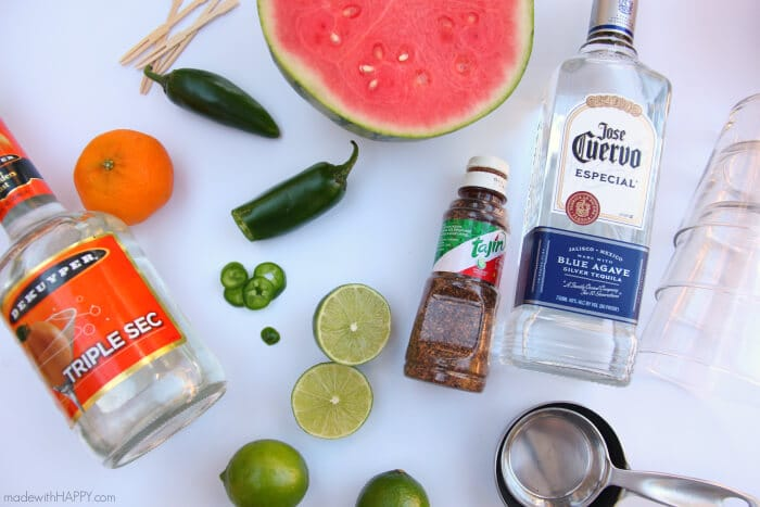 Spicy Watermelon Margarita | Watermelon Cocktail | Spicy Cocktails | Watermelon Margaritas | www.madewithhappy.com